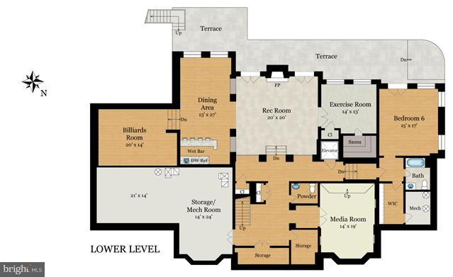 Lower Level Floor Plan - 8651 OLD DOMINION DR, MCLEAN