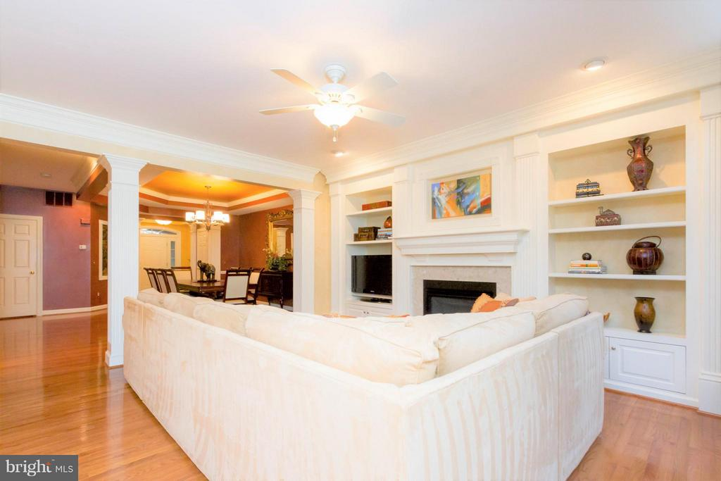 Great Room with gas fireplace and built-ins - 18332 BUCCANEER TER, LEESBURG