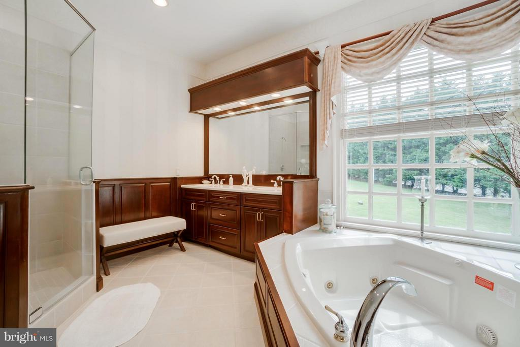 Luxurious bath:  jetted tub, glass shower, views! - 8615 LEE JACKSON CIR, SPOTSYLVANIA