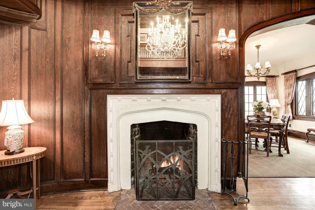 Fireplace - carved wood surround, brick hearth - 8110 GEORGETOWN PIKE, MCLEAN