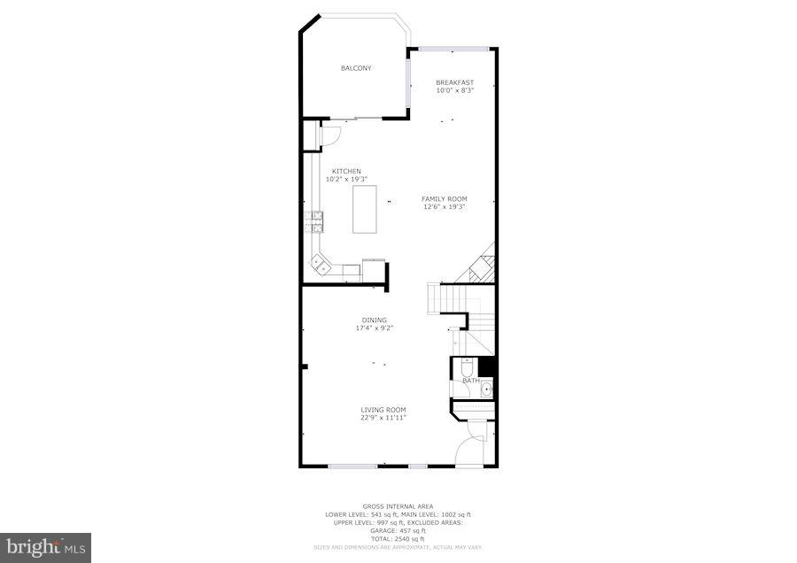 Main level floor plan - 7273 JOHN RYLAND WAY, SPRINGFIELD