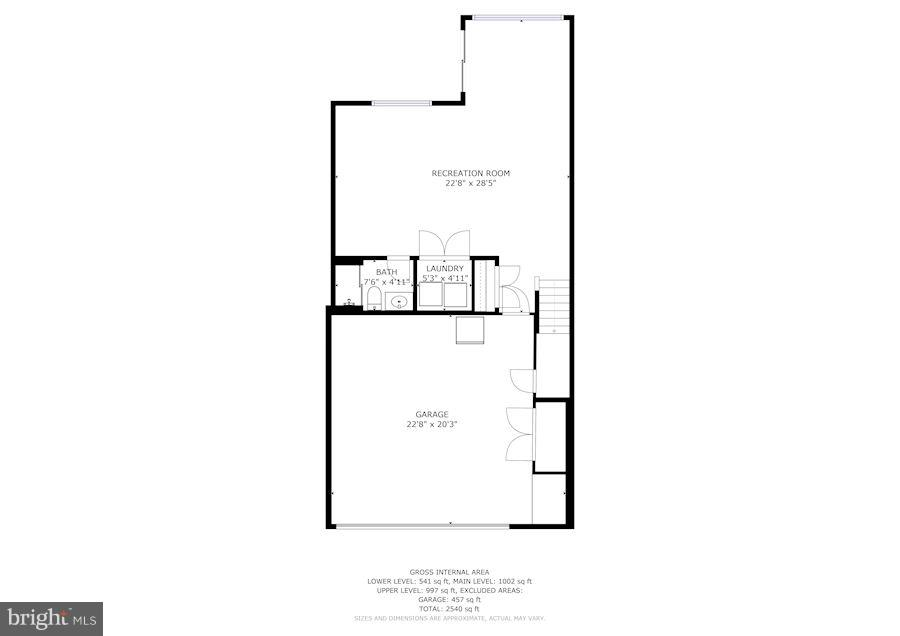 Ground level/Garage entrance floor plan - 7273 JOHN RYLAND WAY, SPRINGFIELD
