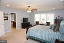 Master bedroom with ceiling fan & walk-in closet - 5311 AUSTRA PL, WOODBRIDGE