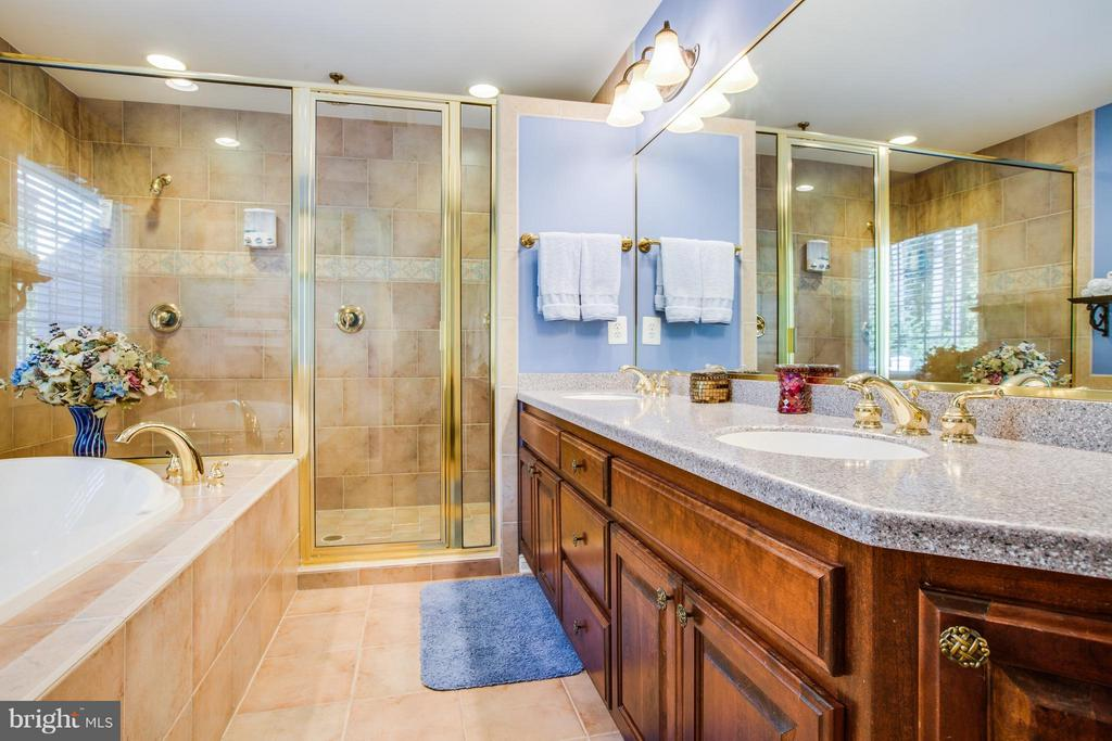 Spa-Like Master Bath w/Massive Shower,Tile, Quartz - 10519 WILDBROOKE CT, SPOTSYLVANIA