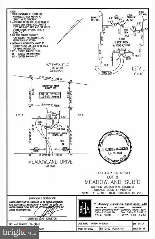 Plat of property - 8099 MEADOWLAND DR, LOCUST GROVE