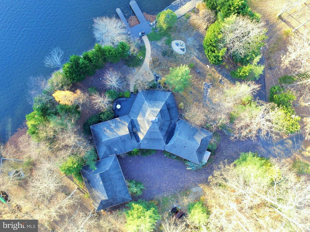 Aerial view of magnificent waterfront retreat! - 111 BOXWOOD TRL, LOCUST GROVE
