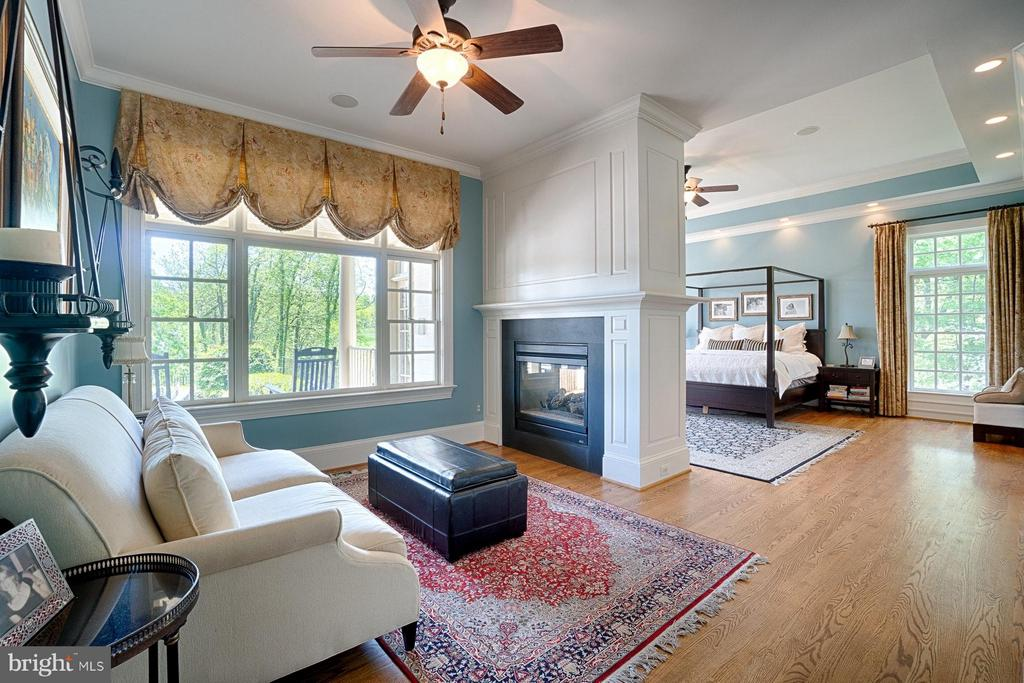 Master bedroom sitting room w/ two-sided fireplace - 17094 SILVER CHARM PL, LEESBURG