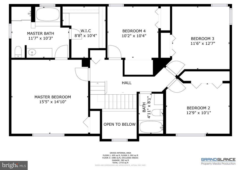 Bedroom Level Floor Plan - 151 MORNING GLORY DR, WINCHESTER