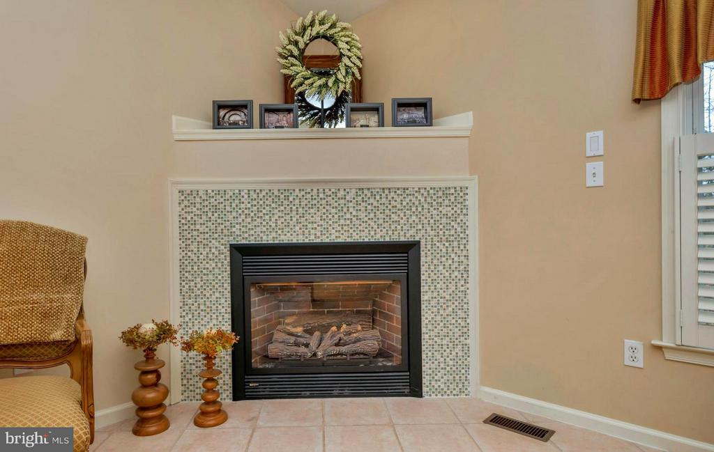 Beautifully tiled corner fireplace - 104 CEDAR CT, LOCUST GROVE