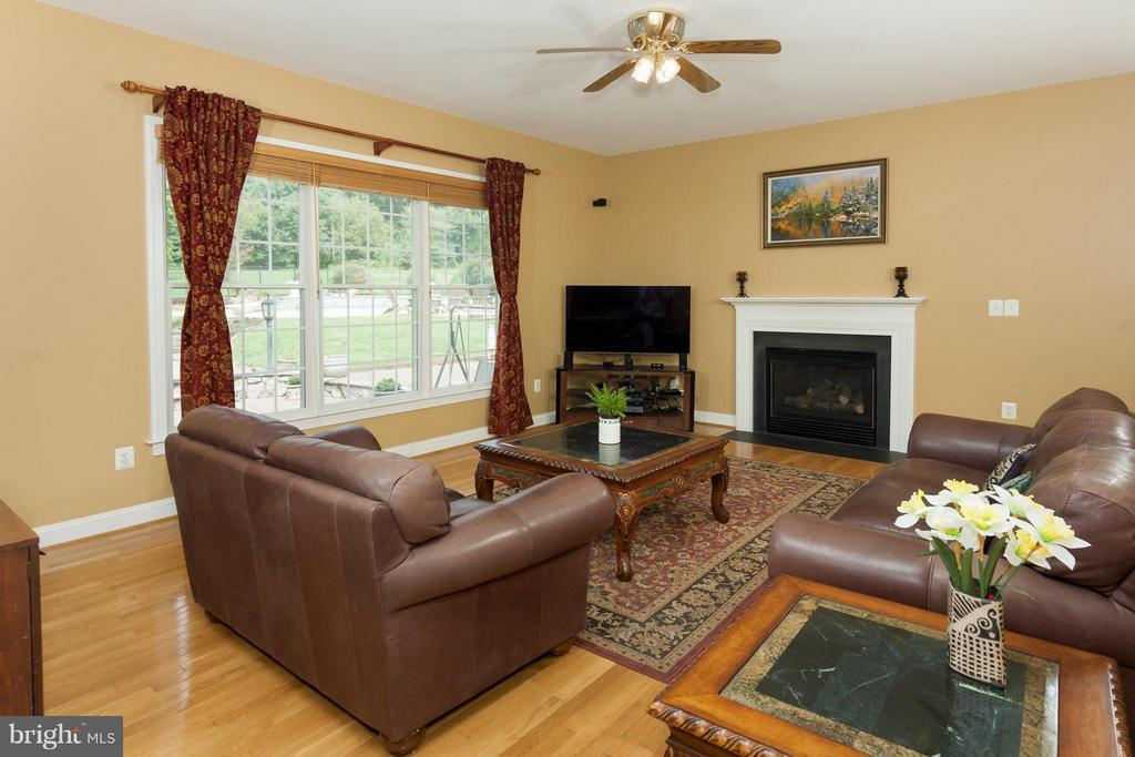 Family Room with fireplace - hardwoods on 2 levels - 42308 GREEN MEADOW LN, LEESBURG