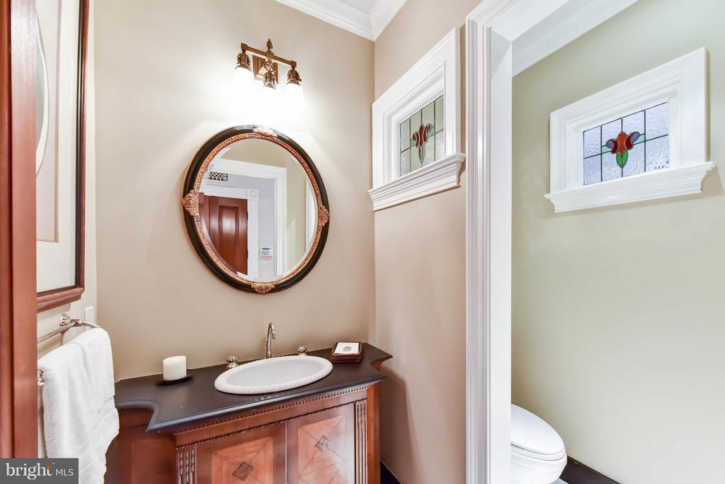 Main Level Powder Room with custom mosaic tile - 7615 SOUTHDOWN RD, ALEXANDRIA