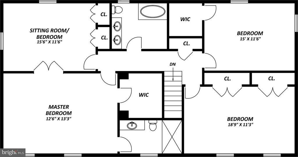 Upper Level Layout - 9350 MOUNT VERNON CIR, ALEXANDRIA