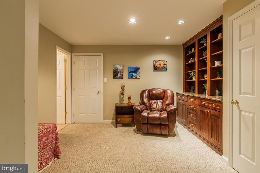 Lower Level Rec Room with Built In Bookcases - 8709 MIDDLEFORD DR, SPRINGFIELD