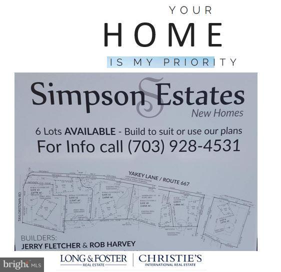 Simpson Estates has 6 lots - Call Tanya for info - YAKEY LN, LOVETTSVILLE