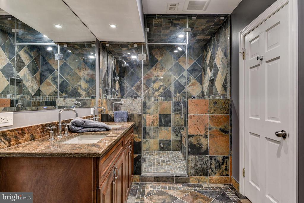 Full Bathroom with Blue Stone Tile - 10408 BIT AND SPUR LN, POTOMAC