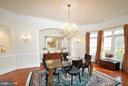 Formal Dining Rm w/hrdwd, crystal chandelier - 4200 PINERIDGE DR, ANNANDALE