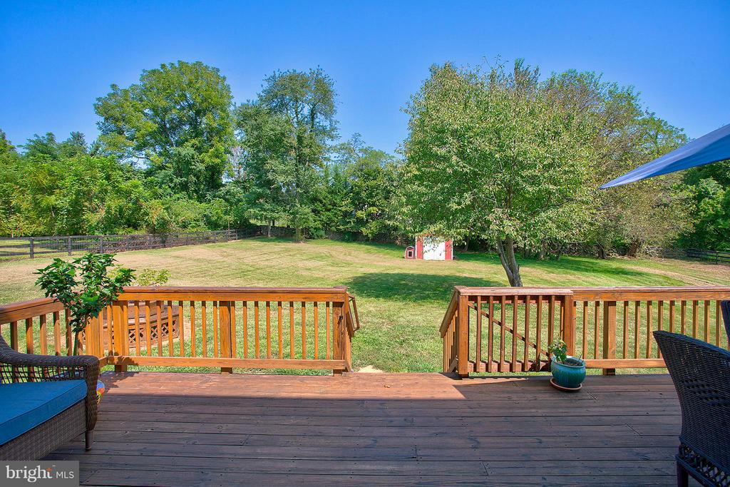 View of back yard and storage shed. - 35086 HARRY BYRD HWY, ROUND HILL