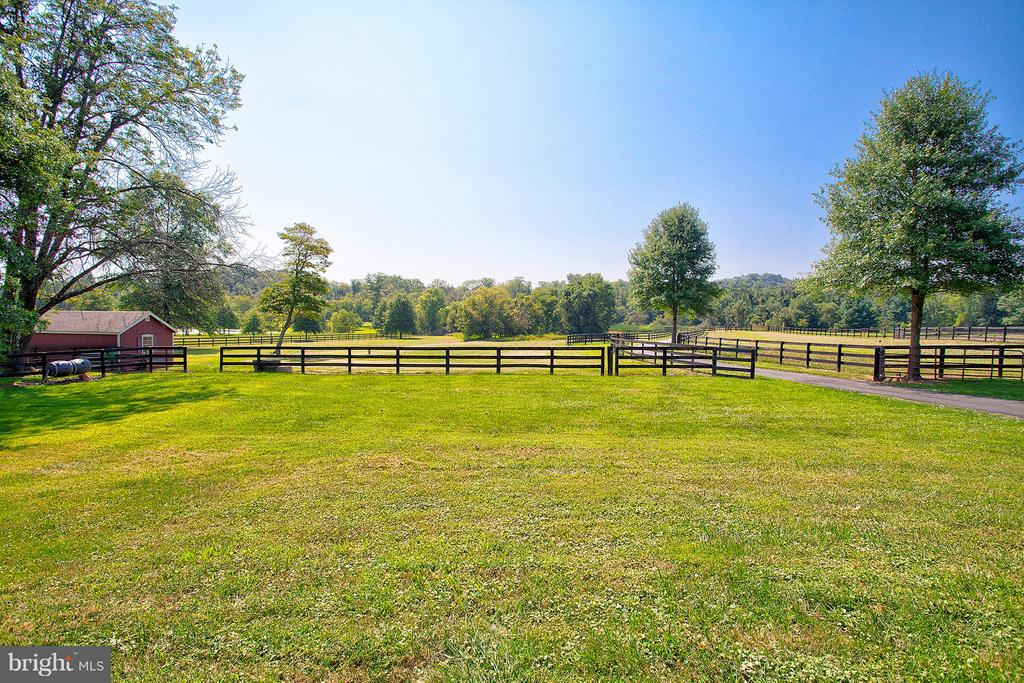 Big front yard that is totally fenced. - 35086 HARRY BYRD HWY, ROUND HILL