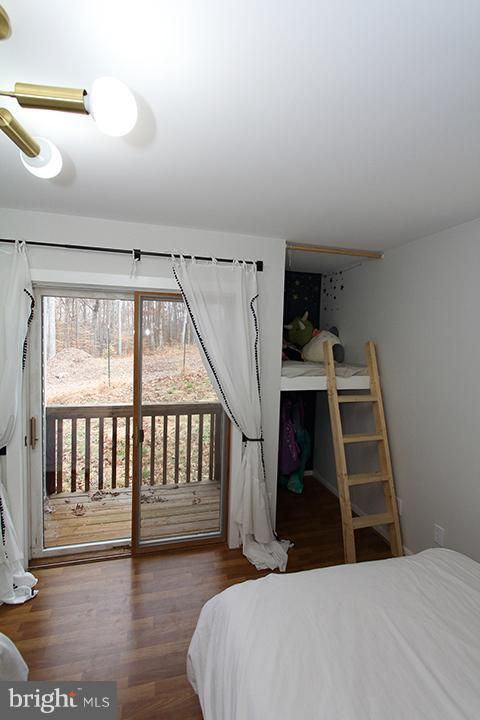 Alt view of lower level bedroom #3 with balcony - 19319 HARMONY CHURCH RD, LEESBURG