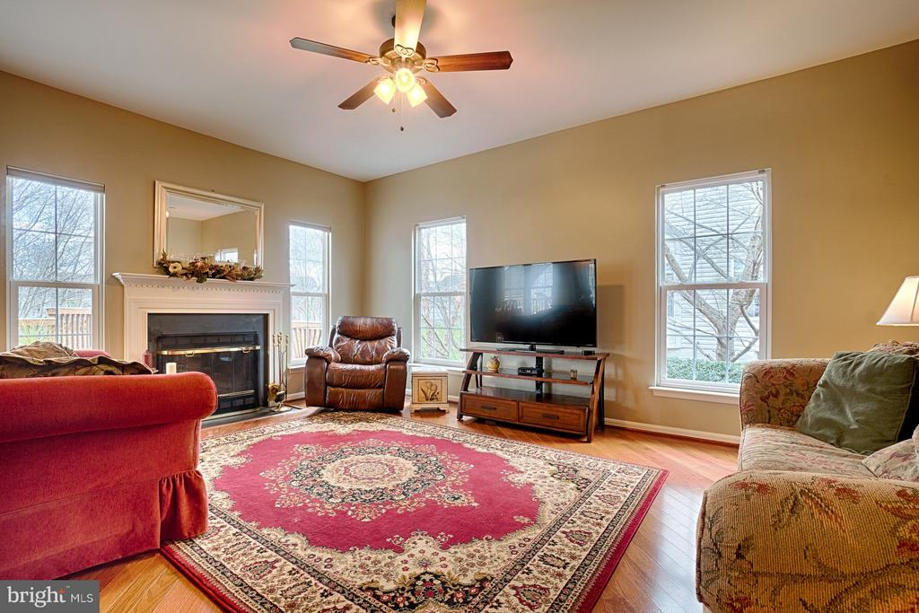 Sun filled family room with cozy wood burning FP - 43189 CARDSTON PL, LEESBURG