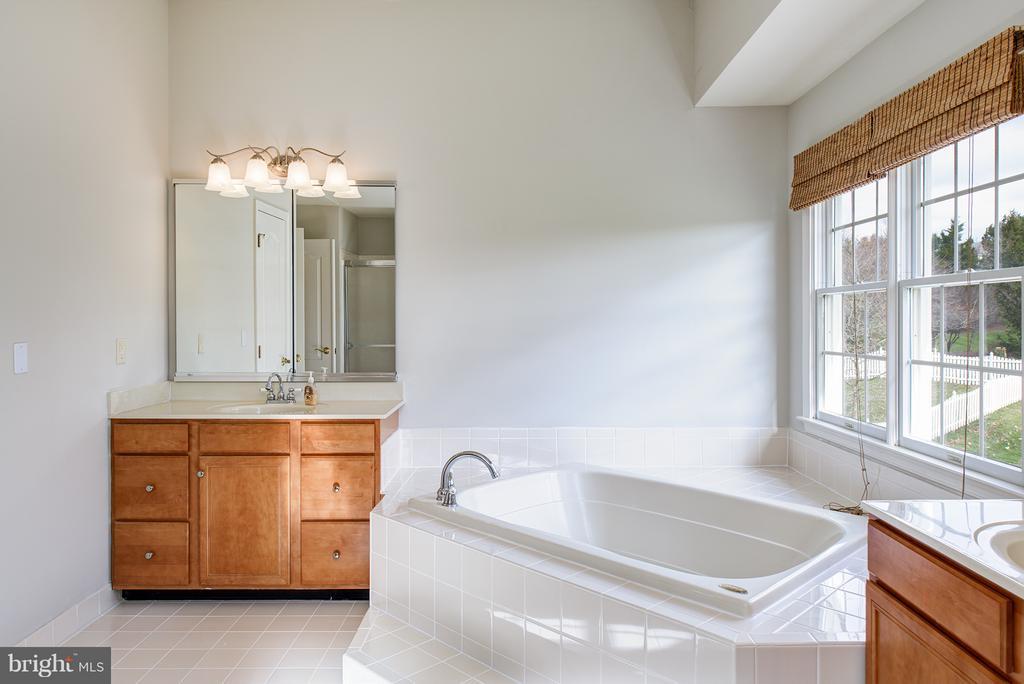 Owners Bathroom w/separate vanities & soaking tub - 19750 SPYGLASS HILL CT, ASHBURN
