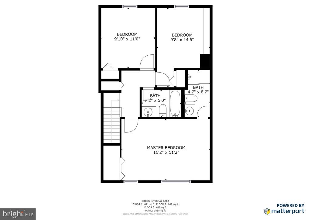 Upper Level 2D Floorplan - 11924 GLEN ALDEN RD, FAIRFAX