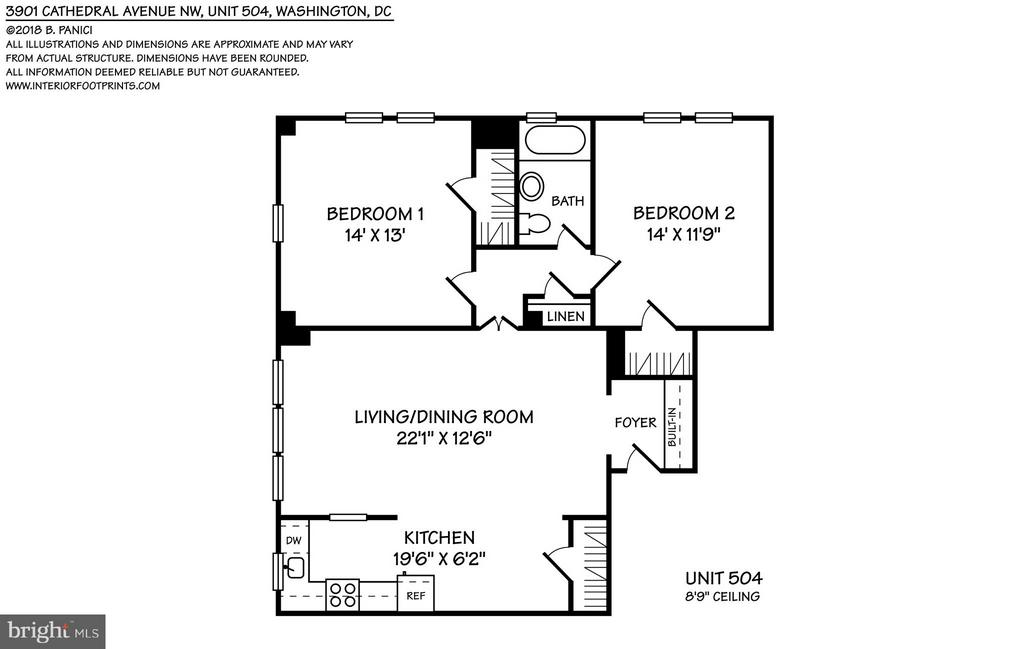 Floor plan of apartment (interior, wall-to-wall) - 3901 CATHEDRAL AVE NW #504 (87), WASHINGTON