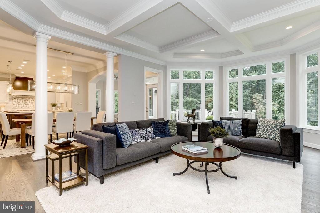 coffered ceilings with walls of windows - 2551 VALE RIDGE CT, OAKTON