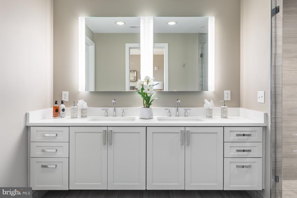 Master bath with dual vanity - 8302 WOODMONT AVE #601, BETHESDA
