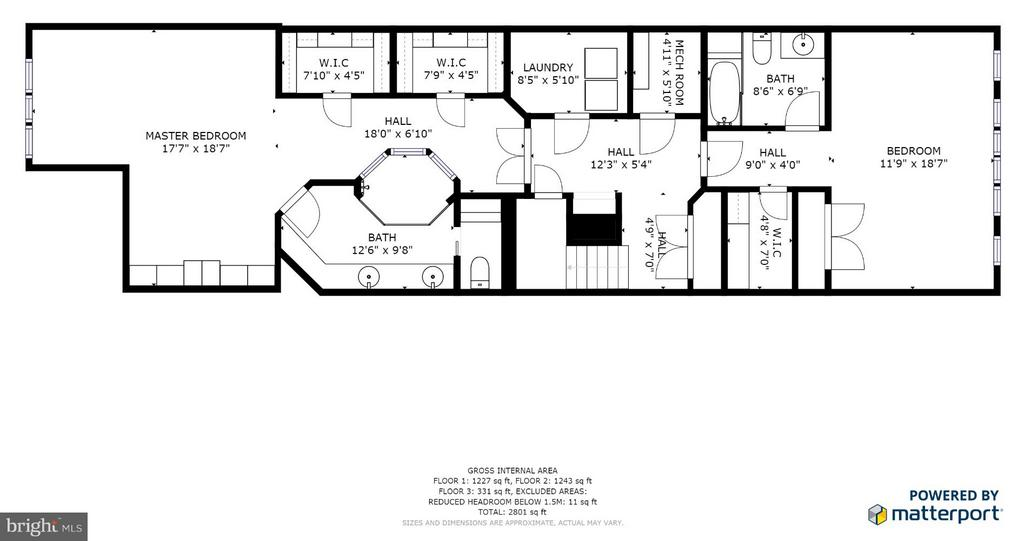 bedroom level floor plan - 717 KENMORE AVE, FREDERICKSBURG
