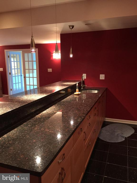 Wetbar and refrigerator.  Awesome party room! - 22301 ESSEX VIEW DR, GAITHERSBURG