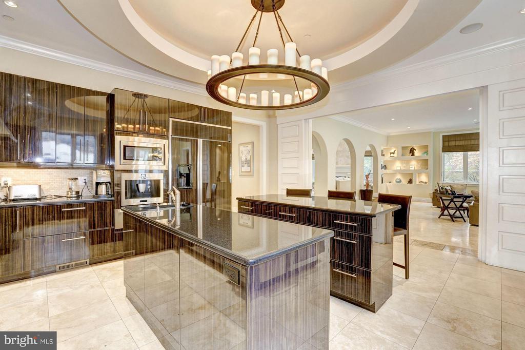 Double island kitchen - 8505 MEADOWLARK LN, BETHESDA
