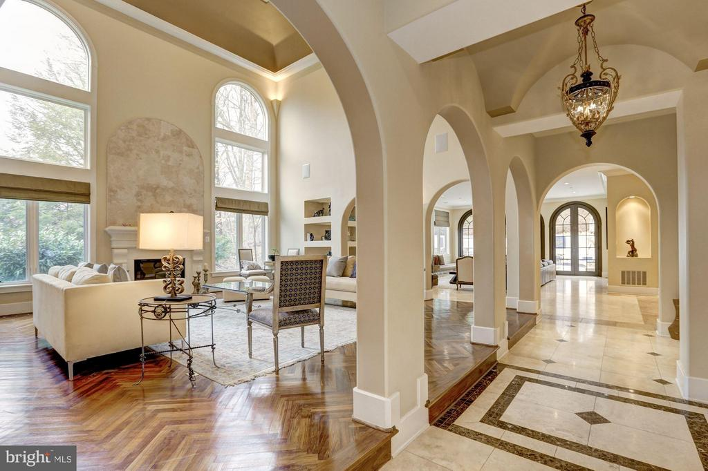 view to living room from grand foyer - 8505 MEADOWLARK LN, BETHESDA