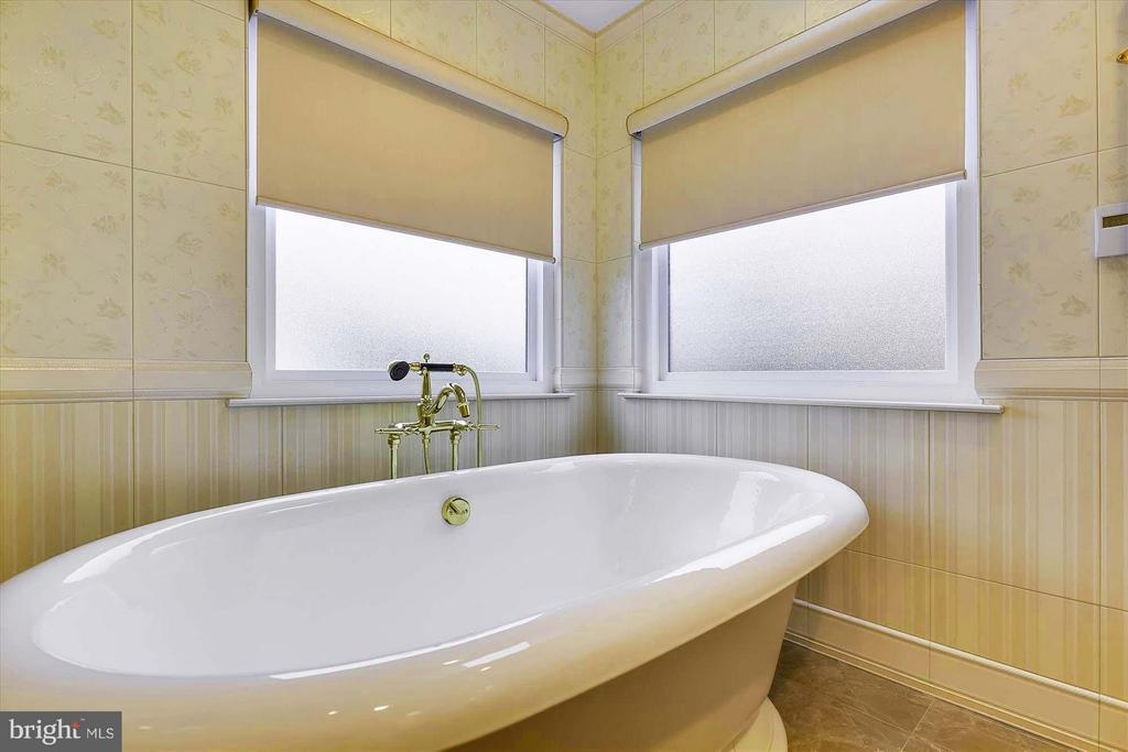 Free-standing tub surrounded by frosted windows - 43154 PARKERS RIDGE DR, LEESBURG
