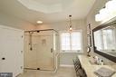 Custom shower, Level 5 granite countertops - 18490 ORCHID DR, LEESBURG
