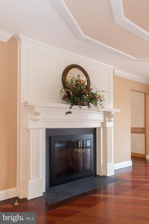Gas Fireplace in the formal living room - 7523 RAMBLING RIDGE DR, FAIRFAX STATION