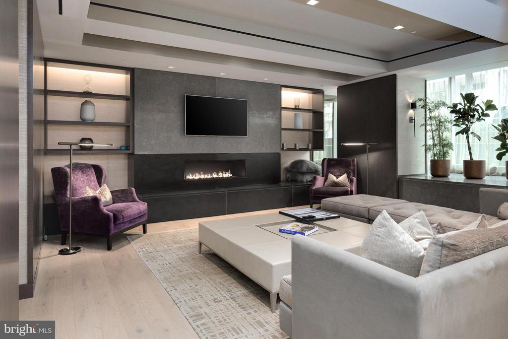 Chic resident lounge with gas fireplace - 2501 M ST NW #608, WASHINGTON