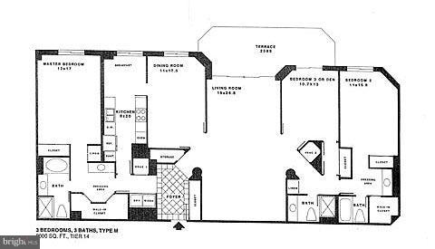 Condo Floor Plan - 1600 N OAK ST #614, ARLINGTON