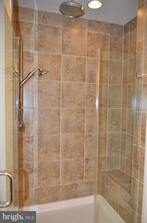Master bath shower with rain forest shower head - 15106 ADDISON LN, WOODBRIDGE