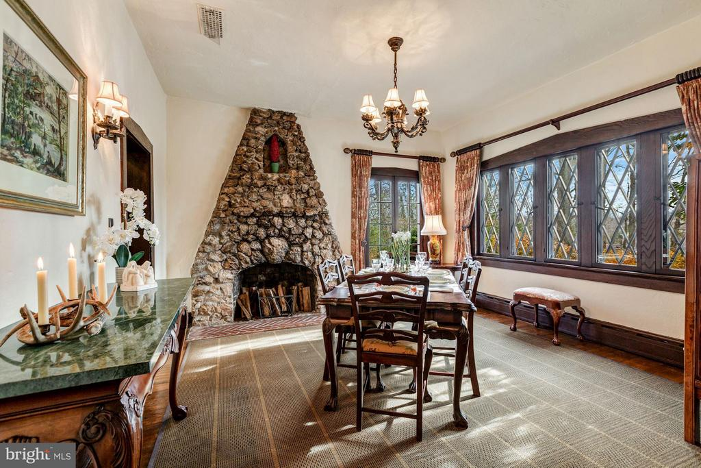 Dining Room with floor-to-ceiling Stone Fireplace - 8110 GEORGETOWN PIKE, MCLEAN