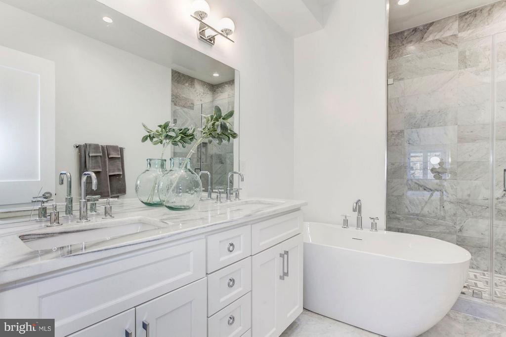 Marble-clad Master Bath with Separate Soaking Tub - 2817 13TH ST NW #2, WASHINGTON