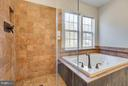 Master bath jet jacuzzi tub & frameless shower - 15333 TINA LN, WOODBRIDGE
