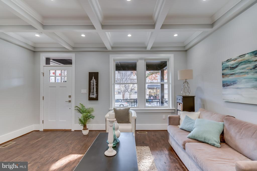 Living Room with coffered ceilings - 621 LONGFELLOW ST NW, WASHINGTON