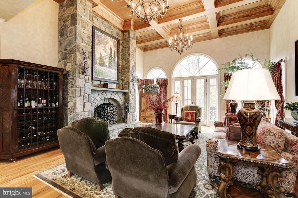 Two-Story Family Room  with Masonry Fireplace - 10015 HIGH HILL PL, GREAT FALLS