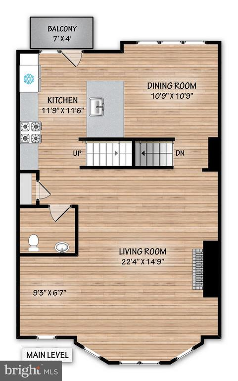 Floor plan: Kitchen, Living level - 2203 N 19TH CT, ARLINGTON