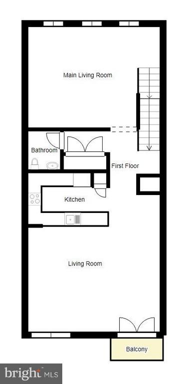 2 D floor plan of living/kitchen level - 3530 CONNOR PL, FREDERICK