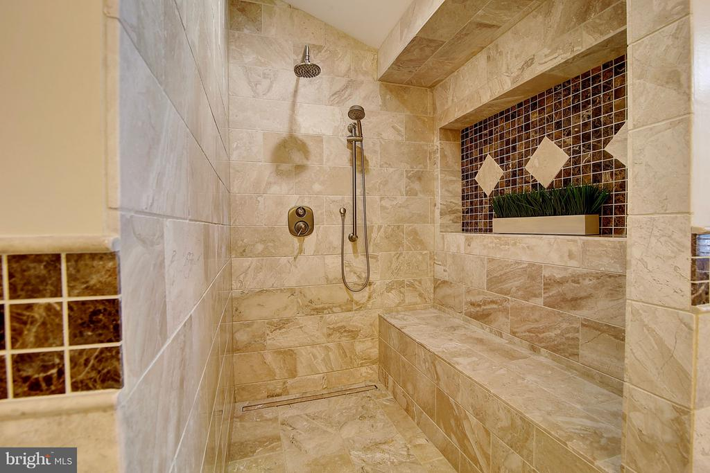 Travertine and Mosaic  tile, towel warming bar - 1298 STAMFORD WAY, RESTON
