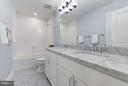 Hall Bathroom with Marble Top Vanity and 2 Sinks - 7821 FORT HUNT RD, ALEXANDRIA