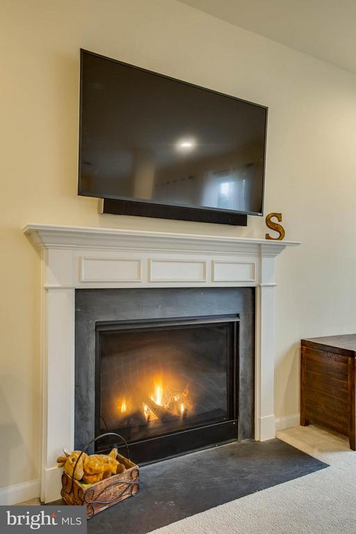 Gas fireplace and modern mantel and hearth - 7131 MASTERS RD, NEW MARKET