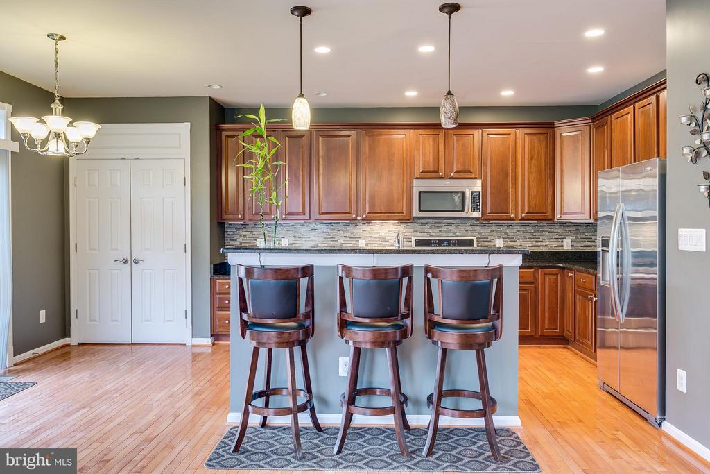 Open Kitchen with Large Island & HW Flooring - 21018 ROAMING SHORES TER, ASHBURN